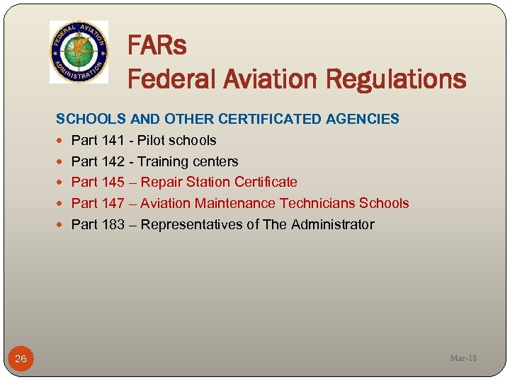 an overview of the regulation of aviation on a federal state and local level The federal aviation administration (faa), within the department of transportation (dot), has been given the responsibility to carry out safety overview of the federal aviation administration (faa) rciss program overview of faa privacy management process for rciss personally identifiable.