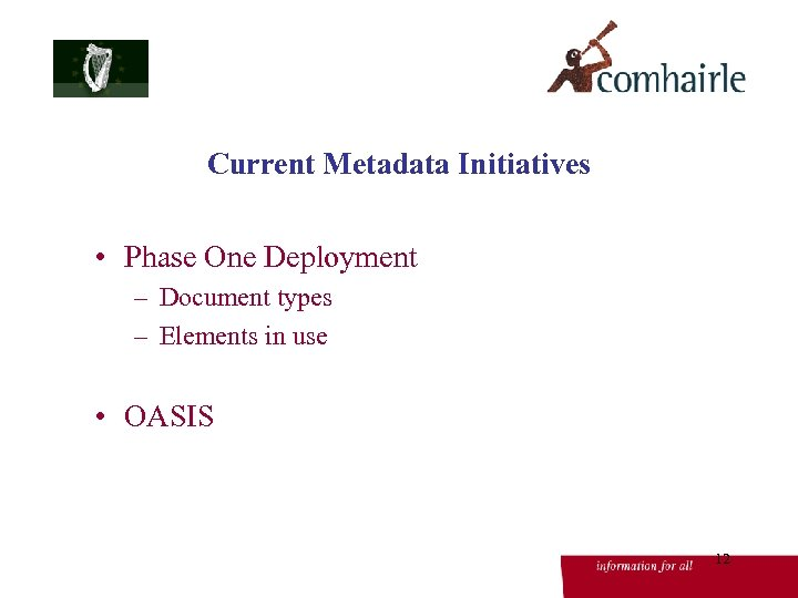 Current Metadata Initiatives • Phase One Deployment – Document types – Elements in use