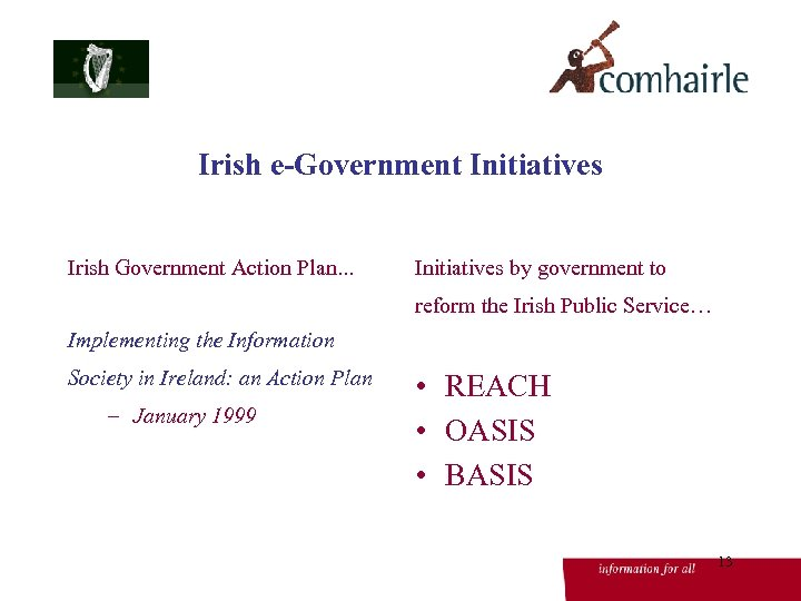 Irish e-Government Initiatives Irish Government Action Plan. . . Initiatives by government to reform