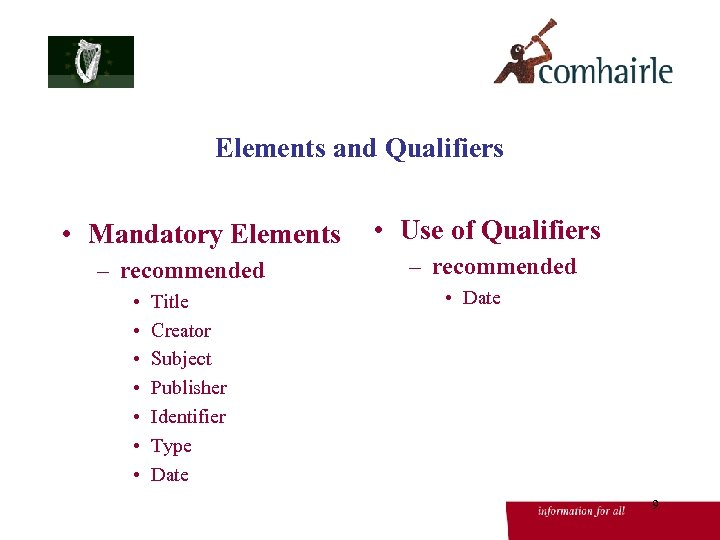 Elements and Qualifiers • Mandatory Elements – recommended • • Title Creator Subject Publisher