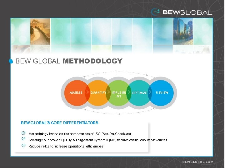 BEW GLOBAL METHODOLOGY Risk Assessment ASSESS QUANTIFY IMPLEME NT OPTIMIZE REVIEW BEW GLOBAL'S CORE