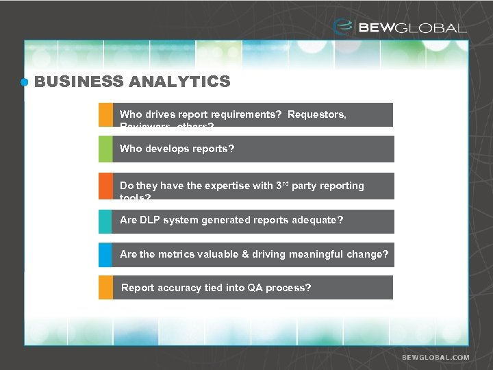 BUSINESS ANALYTICS Who drives report requirements? Requestors, Reviewers, others? Who develops reports? Do they