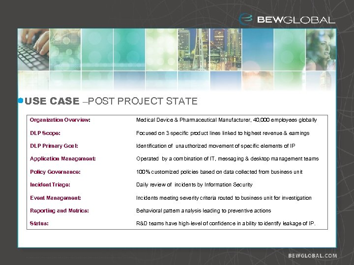 USE CASE –POST PROJECT STATE Organization Overview: Medical Device & Pharmaceutical Manufacturer, 40, 000
