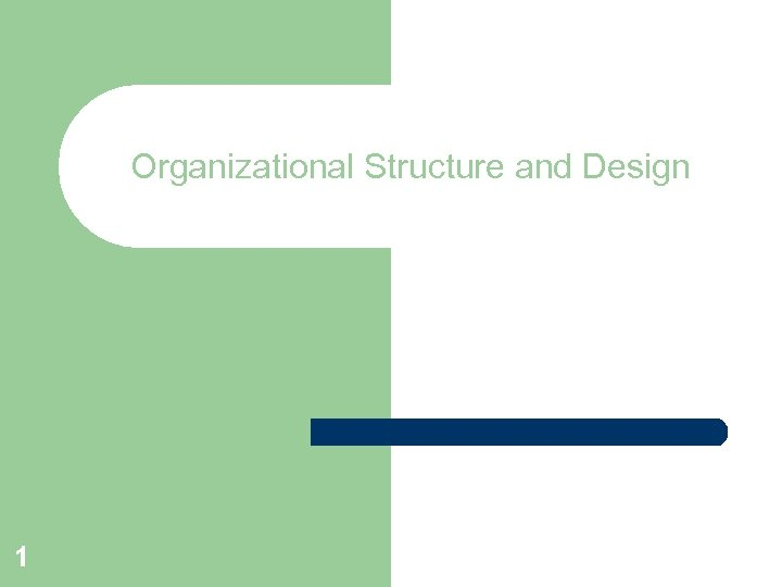 Organizational Structure and Design 1
