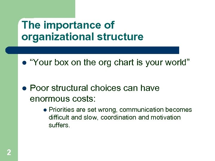"""The importance of organizational structure l """"Your box on the org chart is your"""