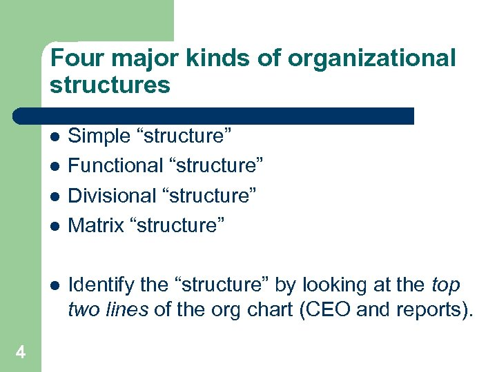 """Four major kinds of organizational structures l l l 4 Simple """"structure"""" Functional """"structure"""""""