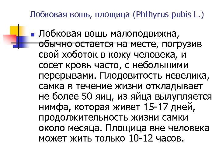 Лобковая вошь, площица (Phthyrus pubis L. ) n Лобковая вошь малоподвижна, обычно остается на