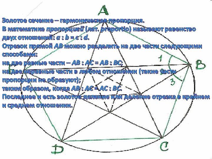 Золотое сечение – гармоническая пропорция. В математике пропорцией (лат. proportio) называют равенство двух отношений: