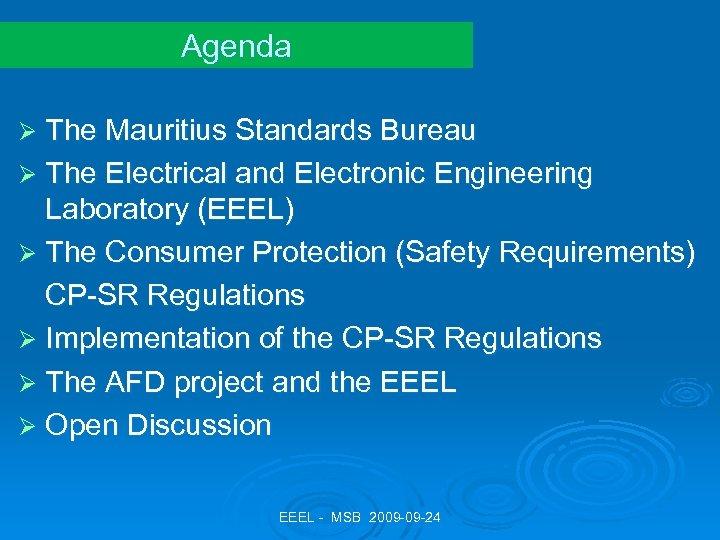 Agenda Ø The Mauritius Standards Bureau Ø The Electrical and Electronic Engineering Laboratory (EEEL)