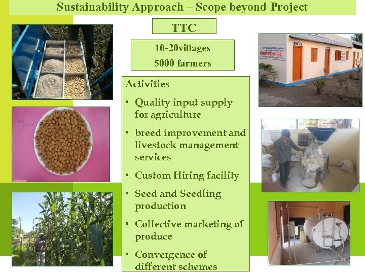 Sustainability Approach – Scope beyond Project TTC 10 -20 villages 5000 farmers Activities •