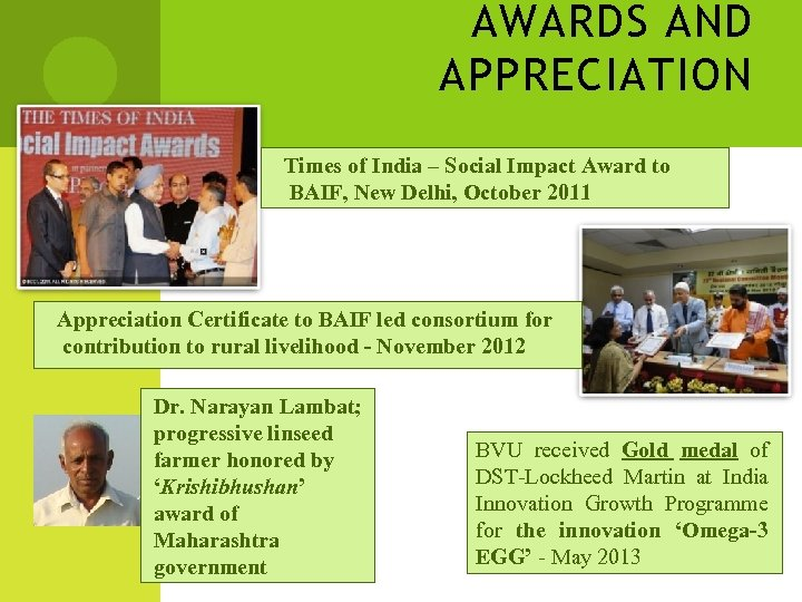 AWARDS AND APPRECIATION Times of India – Social Impact Award to BAIF, New Delhi,