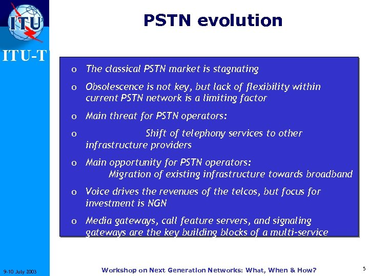 PSTN evolution ITU-T o The classical PSTN market is stagnating o Obsolescence is not