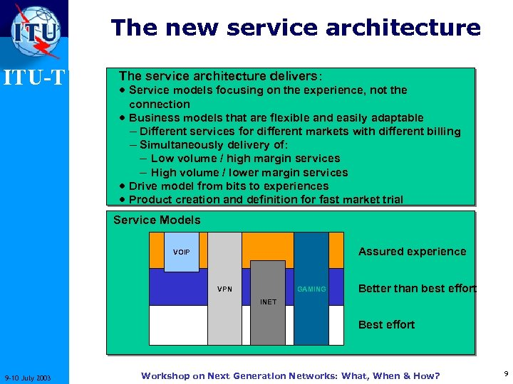 The new service architecture ITU-T The service architecture delivers: · Service models focusing on