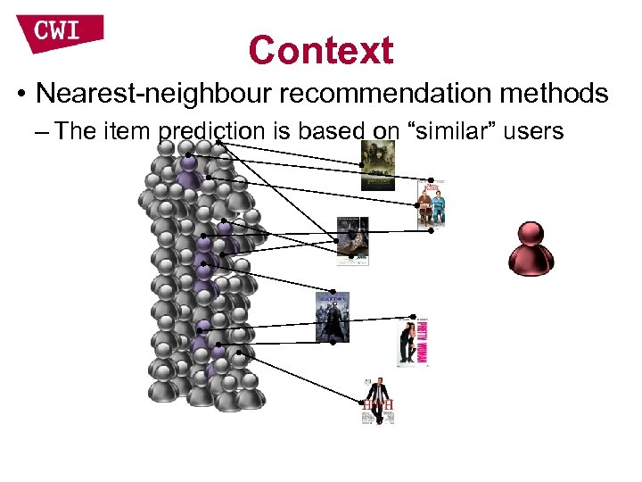 """Context • Nearest-neighbour recommendation methods – The item prediction is based on """"similar"""" users"""