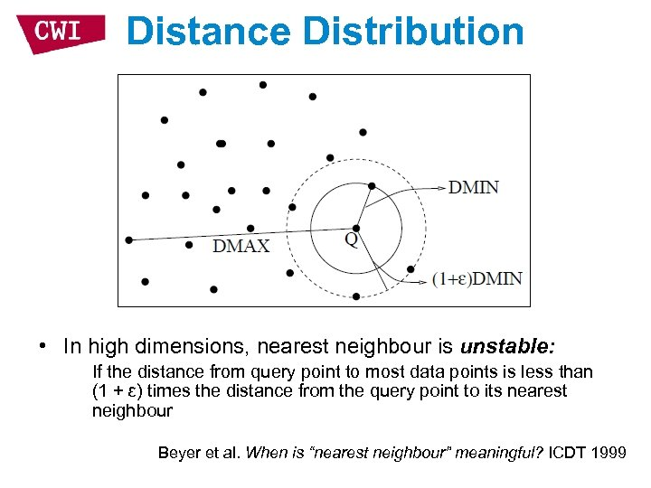 Distance Distribution • In high dimensions, nearest neighbour is unstable: If the distance from