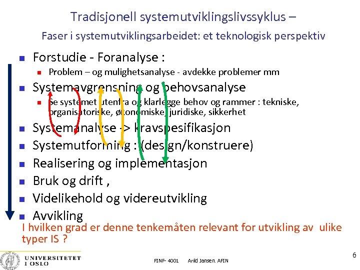 Tradisjonell systemutviklingslivssyklus – Faser i systemutviklingsarbeidet: et teknologisk perspektiv Forstudie ‐ Foranalyse : Systemavgrensning