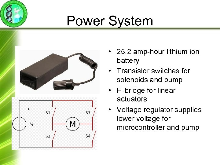 Power System • 25. 2 amp-hour lithium ion battery • Transistor switches for solenoids