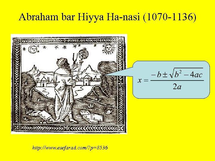 Abraham bar Hiyya Ha-nasi (1070 -1136) http: //www. esefarad. com/? p=8536