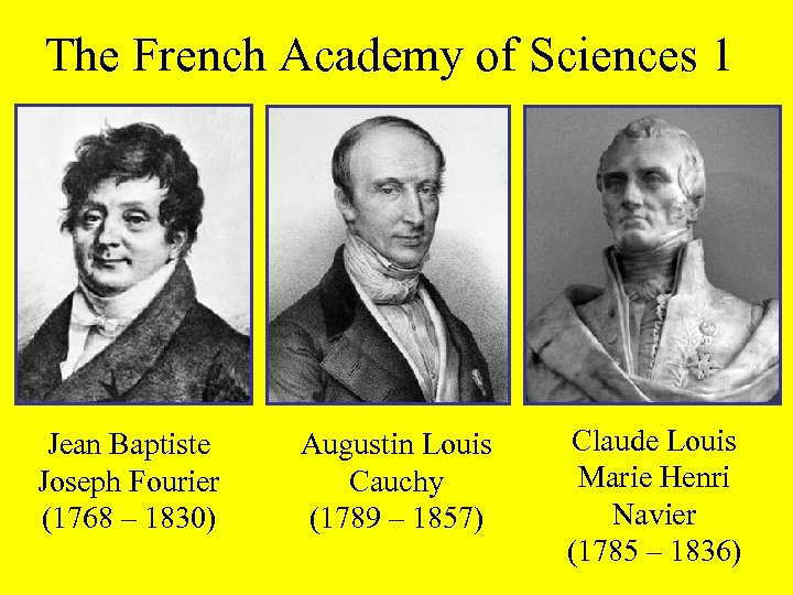 The French Academy of Sciences 1 Jean Baptiste Joseph Fourier (1768 – 1830) Augustin