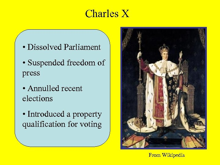 Charles X • Dissolved Parliament • Suspended freedom of press • Annulled recent elections