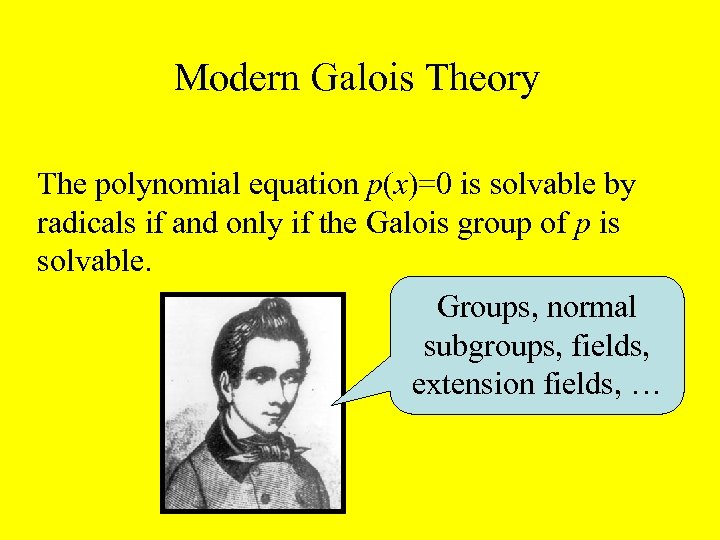 Modern Galois Theory The polynomial equation p(x)=0 is solvable by radicals if and only