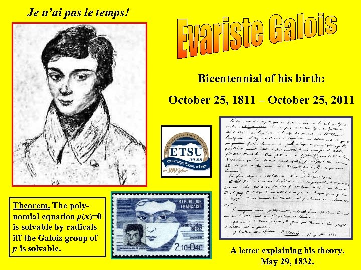 Je n'ai pas le temps! Bicentennial of his birth: October 25, 1811 – October