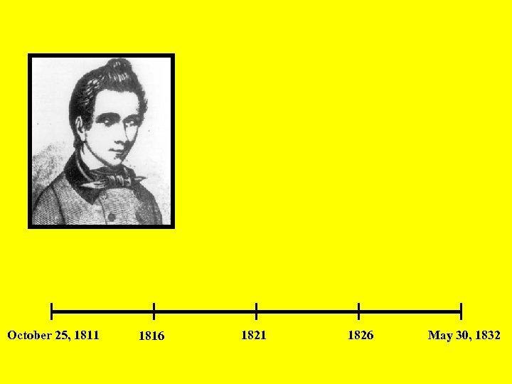October 25, 1811 1816 1821 1826 May 30, 1832