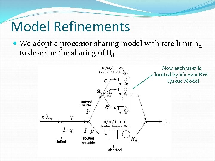 Model Refinements We adopt a processor sharing model with rate limit bd to describe
