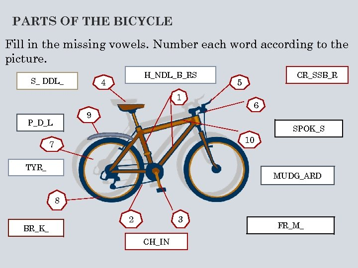 PARTS OF THE BICYCLE Fill in the missing vowels. Number each word according to