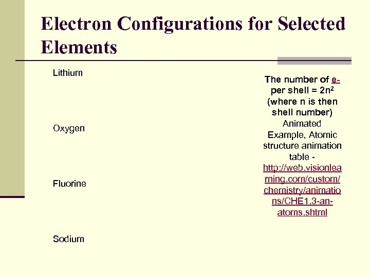 Electron Configurations for Selected Elements Lithium Oxygen Fluorine Sodium The number of eper shell