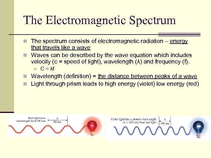 The Electromagnetic Spectrum n The spectrum consists of electromagnetic radiation – energy that travels