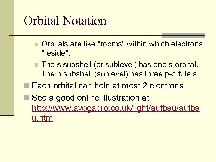 Orbital Notation Orbitals are like