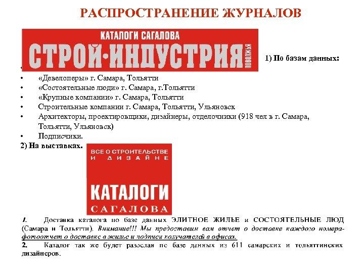 РАСПРОСТРАНЕНИЕ ЖУРНАЛОВ 1) По базам данных: • • • «Девелоперы» г. Самара, Тольятти «Состоятельные