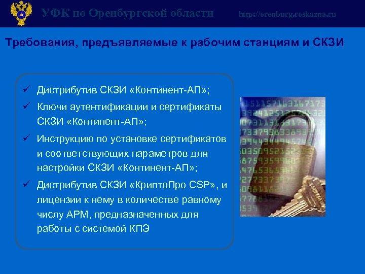 УФК по Оренбургской области http: //orenburg. roskazna. ru Требования, предъявляемые к рабочим станциям и