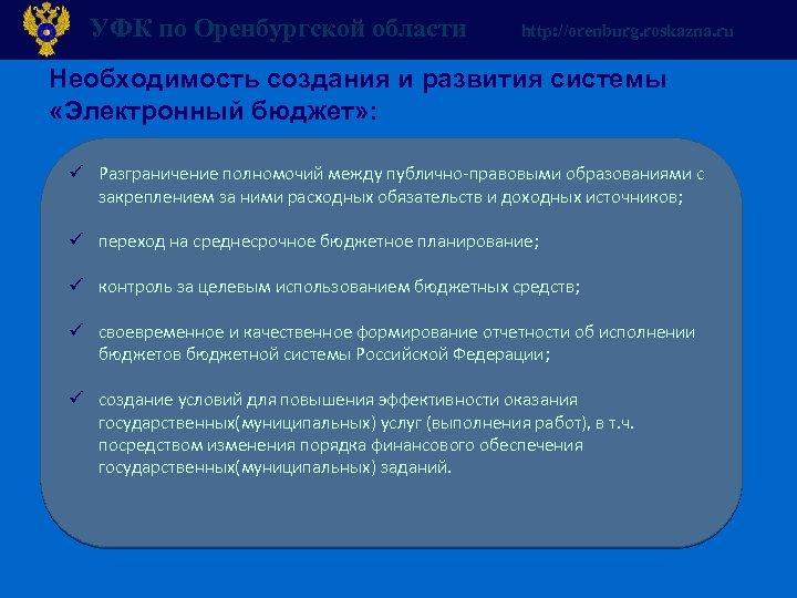УФК по Оренбургской области http: //orenburg. roskazna. ru Необходимость создания и развития системы «Электронный
