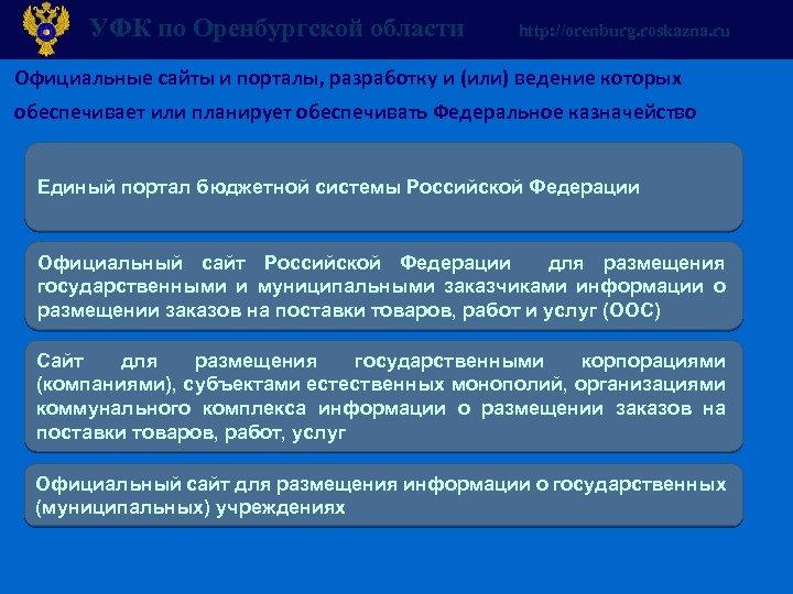 УФК по Оренбургской области http: //orenburg. roskazna. ru Официальные сайты и порталы, разработку и