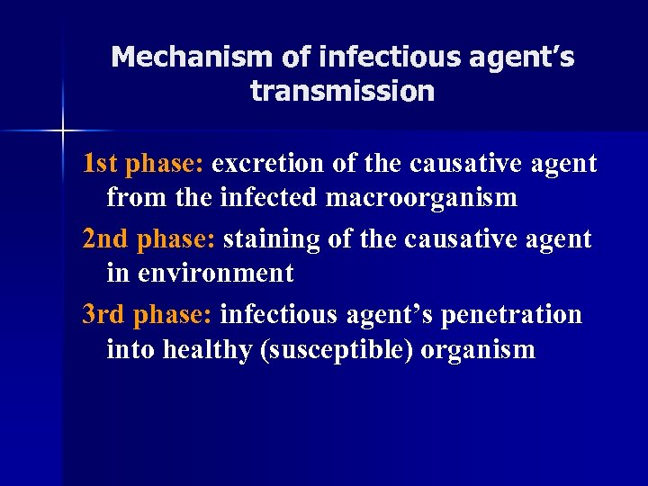 Mechanism of infectious agent's transmission 1 st phase: excretion of the causative agent from