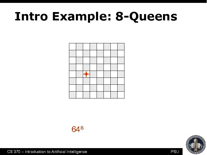 "Intro Example: 8 -Queens • Purely generate-and-test • The ""search"" tree is only used"