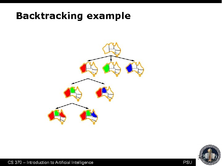 Backtracking example CS 370 – Introduction to Artificial Intelligence PSU 34