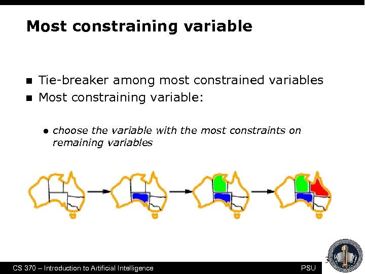 Most constraining variable n n Tie-breaker among most constrained variables Most constraining variable: l