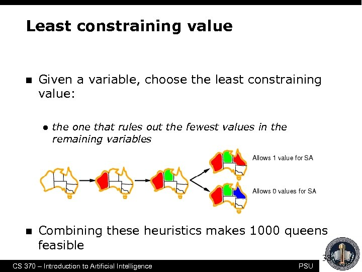 Least constraining value n Given a variable, choose the least constraining value: l n