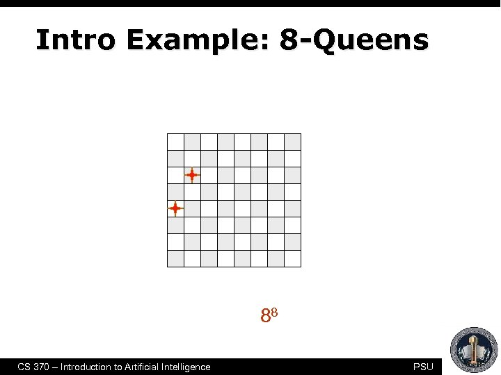 "Intro Example: 8 -Queens Another form of generate-and-test, with no redundancies ""only"" 88 combinations"