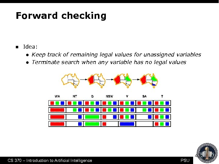 Forward checking n Idea: l Keep track of remaining legal values for unassigned variables