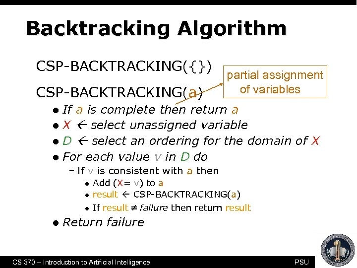 Backtracking Algorithm CSP-BACKTRACKING({}) CSP-BACKTRACKING(a) partial assignment of variables If a is complete then return