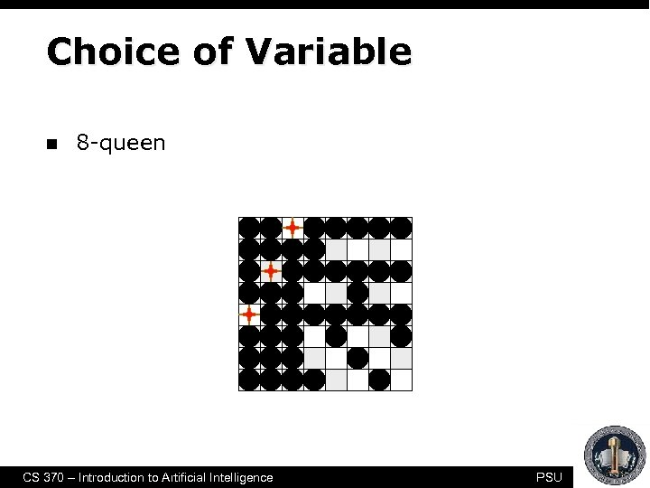 Choice of Variable n 8 -queen CS 370 – Introduction to Artificial Intelligence PSU