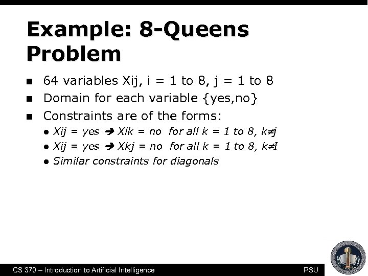 Example: 8 -Queens Problem n n n 64 variables Xij, i = 1 to