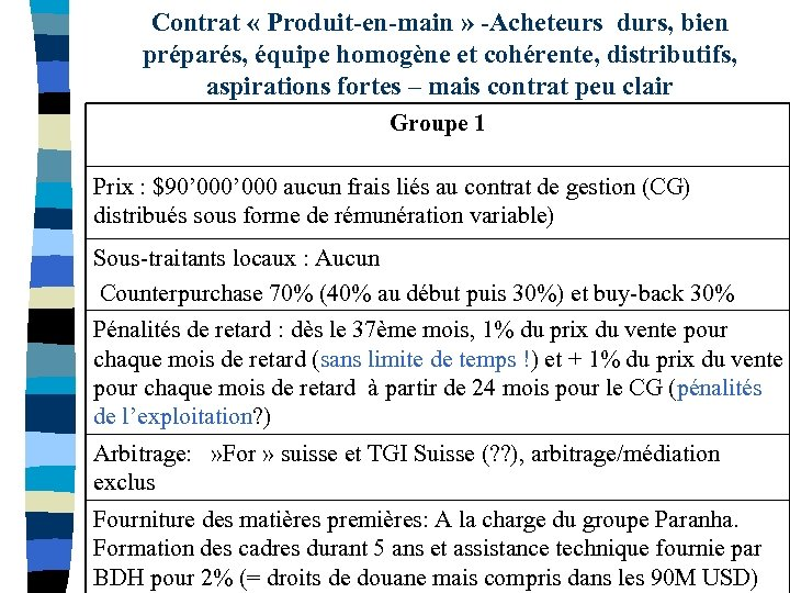 Contrat « Produit-en-main » -Acheteurs durs, bien préparés, équipe homogène et cohérente, distributifs, aspirations