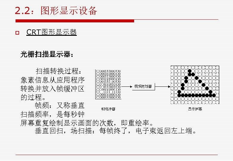 2. 2:图形显示设备 o CRT图形显示器 光栅扫描显示器: 扫描转换过程: 象素信息从应用程序 转换并放入帧缓冲区 的过程。 帧频:又称垂直 扫描频率,是每秒钟 屏幕重复绘制显示画面的次数,即重绘率。 垂直回扫,场扫描:每帧终了,电子束返回左上端。