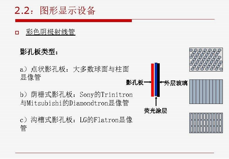 2. 2:图形显示设备 o 彩色阴极射线管 影孔板类型: a)点状影孔板:大多数球面与柱面 显像管 影孔板 外层玻璃 b)荫栅式影孔板:Sony的Trinitron 与Mitsubishi的Diamondtron显像管 荧光涂层 c)沟槽式影孔板:LG的Flatron显像 管