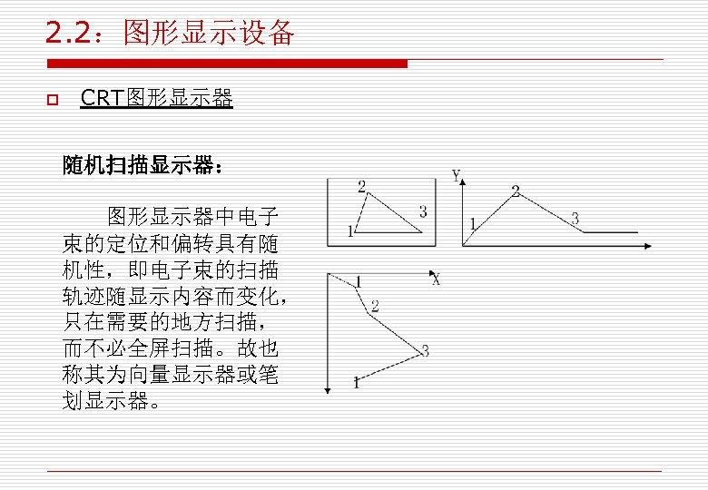 2. 2:图形显示设备 o CRT图形显示器 随机扫描显示器: 图形显示器中电子 束的定位和偏转具有随 机性,即电子束的扫描 轨迹随显示内容而变化, 只在需要的地方扫描, 而不必全屏扫描。故也 称其为向量显示器或笔 划显示器。